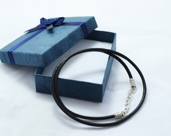 Handmade Black Leather Cord 3 mm Necklace 925 Sterling Silver lobster Claw