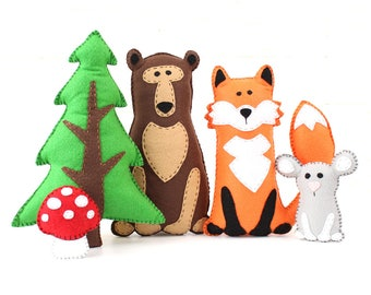 Woodland Stuffed Animal Patterns, Felt Fox Bear Mouse Tree Mushroom Plushie Patterns, Fox Bear Mouse Softie Patterns
