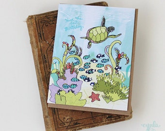 Turtle Happy Birthday Card - happy turtle, ocean, hand drawn illustration, birthday card