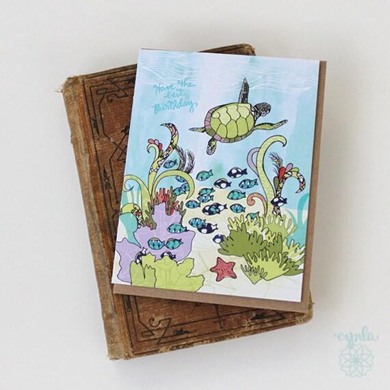 Turtle happy birthday card happy turtle ocean hand drawn like this item bookmarktalkfo Images