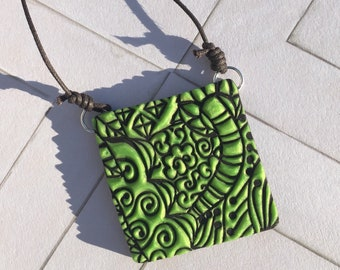 CYO Necklace: Polymer Pendant Green