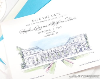 Rosecliff Manor Save the Dates, Rhode Island Wedding Save the Date, Newport Rhode Island Wedding, Venue STD (set of 25 cards and envelopes)
