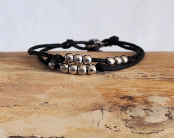 Men's Bracelets, Boyfriend Gift, black or white, For Him, Man Gifts, Gift For Him, Bracelets Men, Pearl beads silver plated, silver, black