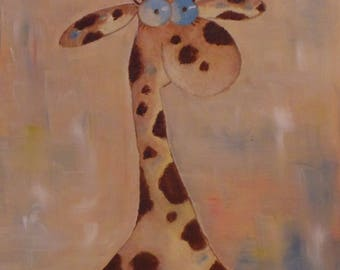 Oil painting. Giraffe