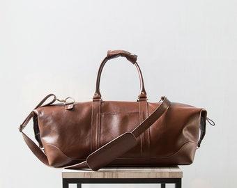 JAY - Leather Duffel Bag, Leather Weekender Bag, Leather Travel Bag, Leather Overnight Bag