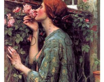 The Soul of the Rose. Waterhouse Painting Striking Pre - Raphaelite Lady. Art Nouveau Print. Digital Waterhouse Download.