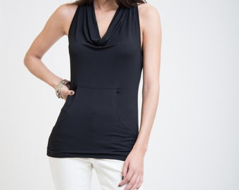 Halter Top / Black Summer Tank / Tank Top / Racer Back Top / Blouse with Large Front Pocket / Fashion Top / Marcellamoda - MB0036