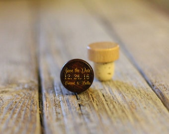 BEST PRICE ** Lot of Personalized Custom Wine Stopper, Laser Engraved Cork Bottle Topper, Reusable Rustic Wedding Favor --WS-dg-SaveTheDate