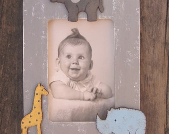 JUNGLE ANIMALS Kids Wood Picture Frame - Original Hand Painted - Vertical/Horizontal - Personalized Option