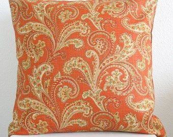 Pillow Cover - Linen blend orange - paisley print - Cushion Cover - burnt orange