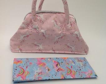 Girl's Mary Poppins style handbag in Pink Unicorns fabric