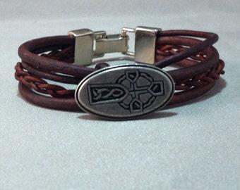 Celtic Cross Leather Bracelet On SALE, Celtic Bracelet, Pewter Celtic Cross Bracelet