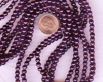 3mm Elegant Deep Purple Glass Pearls 50 pcs