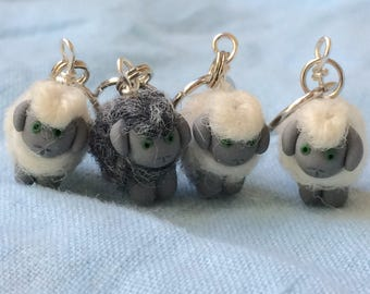Furry Sheep, Tiny Sheep, Stitch Markers, Knitting Accessories, Gift for Knitter, Merino Wool, Polymer Clay, Knitting Tool, set of 4