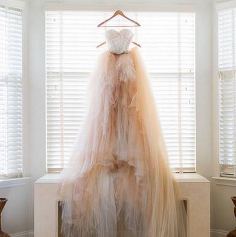 Offen zurück Brautkleid böhmische Brautkleid Tüll-Rock Boho
