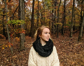 Wool-Blend Chunky Infinity Scarf   HYGGE SCARF in CHARCOAL