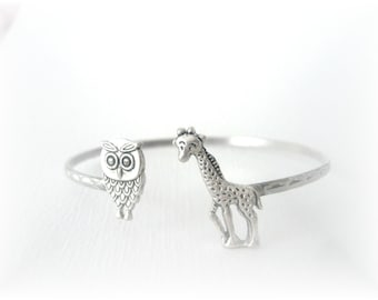 Giraffe bracelet wrap style with an owl, animal bracelet, charm bracelet, bangle