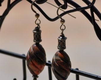 Whirled Jasper and Bali Silver Tube Dangle Earrings