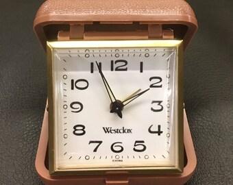 Vintage Westclox Travel Alarm Clock ; Folding Alarm Clock