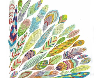 Colorful Bird Feathers Machine Embroidery Bohemian Wing Design Wings Pattern Instant Download ZIP
