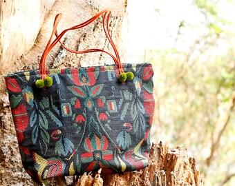 Black Floral Peruvian Handbag, Tribal Black Fabric Handbag, Floral Black Handbag, Black Peru Handbag, Black Boho Handbag, Peru Bag, Flowers