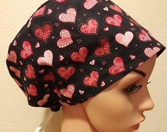 Women's Surgical Cap, Scrub Hat, Chemo Cap, Valentine Hearts