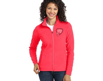 Personalized Monogrammed Stethoscope Full-Zip LADIES Fleece Jacket Custom Embroidered Initials Nurse Nursing Medical Doctor Womens 8 Colors