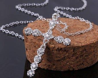 925 Pure Silver Cross pendant Rhinestone Crystal