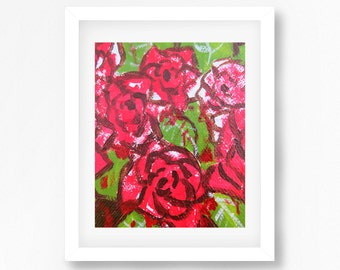 Abstract Roses Print, Alice In Wonderland Paint the Roses Red, Alice in Wonderland Decor, Abstract Roses Art, Roses Wall Art, Roses Decor