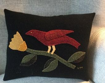 Primitive Folk Art Mustard Flower with Red Bird Penny Rug Pillow