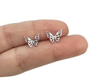Butterfly stud earrings in Sterling Silver ,Butterfly earrings, Butterfly studs, Kids earrings,Cartilage earrings