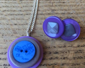 SALE *** Button pendant necklace and stud earring set. Purple, grey and blue.