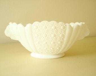 Daisy and Button large oval console bowl, Fenton milk glass centerpiece bowl, fruit bowl, wedding decor, housewarming gift, mid-century 1950