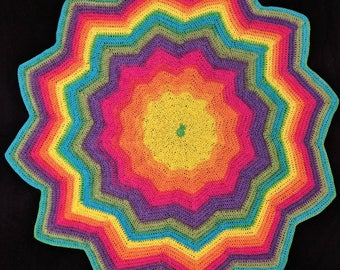 Rainbow Baby Afghan blanket crochet handmade