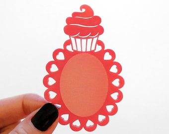 2pcs Cupcake Cameo Setting - for 40x30mm Cameo - Laser Cut - (You select the COLOR and if you want them with Holes or No Holes)
