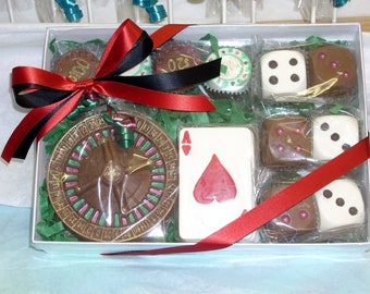 Chocolate Roulette Wheel Dice and Poker Chips