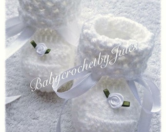 Crochet Baby Booties, Baby Crochet Shoes, White Lacy Baby Crochet Booties, Baby Shower Gift, Newborn, Handmade, Baby Slippers