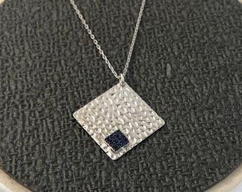 Gifts For Her, Silver Dented Necklace