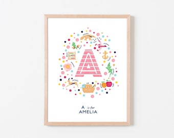 Custom Nursery Wall Art, Letter A Nursery Decor, Nursery Monogram, Personalised Print, Rustic Girls Nursery Print, Baby Girl Gift Idea,