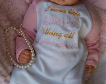 Personalized Baby Gift Girl Newborn Girl Coming Home Outfit Personalized Baby Girl Clothes Baby Clothes Infant Gown Baby Outfit pink gold