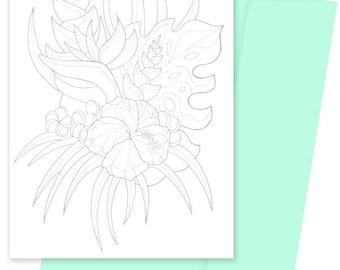 A5 Colouring Card- Tropic Floral
