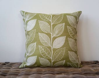green and white pillow cover - leaves pillow -  apple green cushion - green white leaves pillow - grass green botanical cushion cover