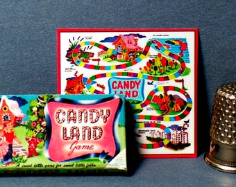 Candy Land Game  - Dollhouse Miniature - 1:12 scale - Dollhouse Accessory - Game Box & Game Board  1950s to 1960s Dollhouse Candyland Game