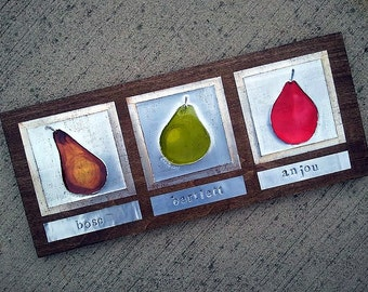 Recycled Soda Pop Can Pears Upcycled Metal Wall Art Set