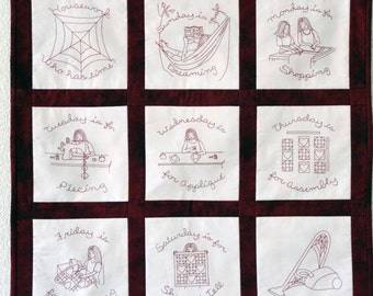 Redwork Embroidery Pattern for Tea Towels and Wall Hanging (Hand and Machine) - for Quilters