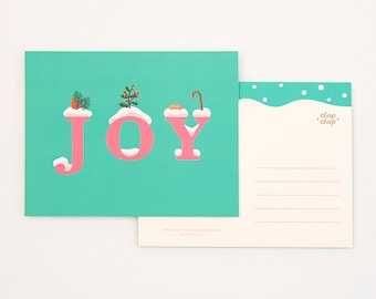 8 Holiday Postcards Set - Joy Emerald
