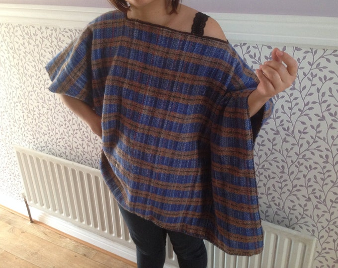 Wool Poncho -100% Wool - Very Warm - Blue Brown Stripe - Free Matching Scarf Included