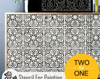 NADIA Tile Stencil – Floor Wall Moroccan Large Reusable Stencils for Painting by Dizzy Duck Designs