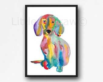 Rainbow Dachshund Dog Watercolor Painting Print Dog Wall Art Colorful Doxie Dog Sausage Dog Print Watercolour