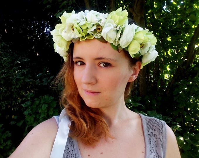 Green floral CROWN WREATH artificial flowers greenery wedding fresh trendy satin ribbon Flower girl Bride bridal hairpiece romantic boho